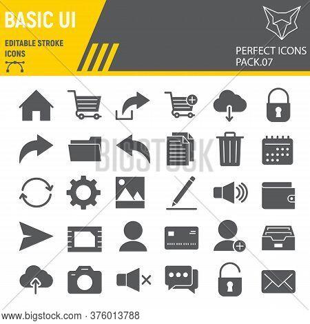 Basic Ui Glyph Icon Set, Web Mobile Symbols Collection, Vector Sketches, Logo Illustrations, Ui Icon