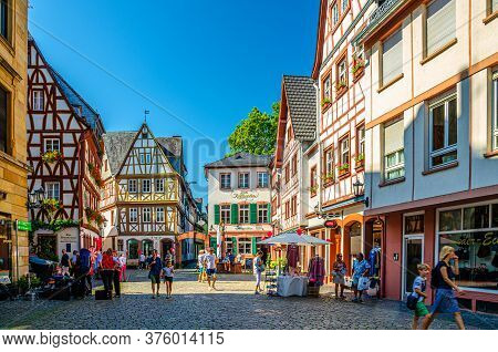 Mainz, Germany, August 24, 2019: Traditional German Houses With Typical Wooden Facade Fachwerk Style