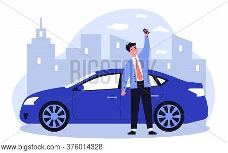 Happy Young Man Leasing Car Flat Illustration. Driver Holding In Hand Keys To His New Vehicle. Deale