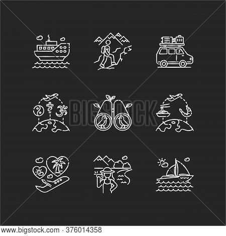 Vacation Trip Chalk White Icons Set On Black Background. Active Tourism, Adventure And Travel. Diffe