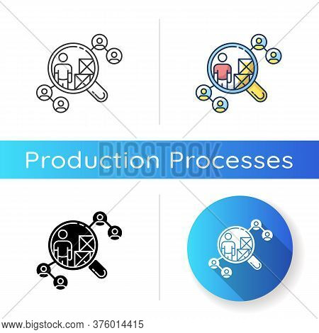 Vendor Selection Icon. Linear Black And Rgb Color Styles. Production Distribution Network, Logistics