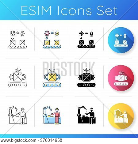 Industrial Work Icons Set. Linear, Black And Rgb Color Styles. Continuous Production Flow, Custom Ma