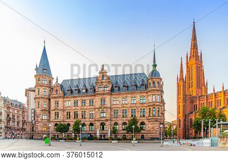 Wiesbaden Cityscape With City Palace Stadtschloss Or New Town Hall Rathaus And Evangelical Market Pr