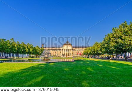 Wiesbaden, Germany, August 24, 2019: Kurhaus Or Cure House Spa And Casino Building And Bowling Green