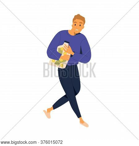 Careful Man Hide Cash And Coins At Bank Vector Flat Illustration. Guy Save Money In Jar At Home Isol