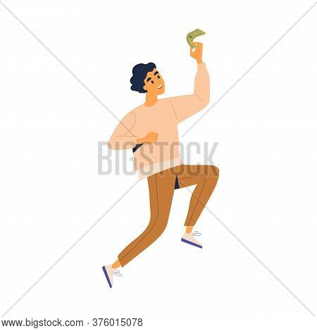 Happy Man Jumping Holding Cash Vector Flat Illustration. Joyful Male With Banknote Celebrating Finan