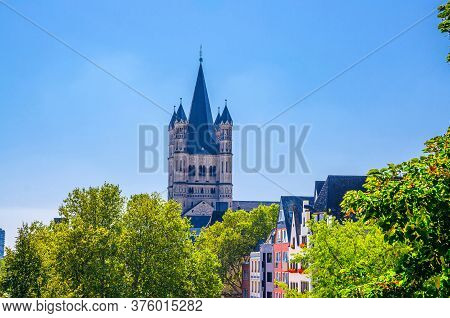 Tower With Spire Of Great Saint Martin Roman Catholic Church Romanesque Architecture Style Building