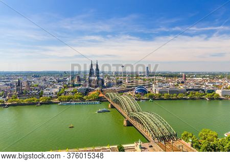 Aerial Panoramic View Of Cologne Cityscape Of Historical City Centre With Cathedral, Central Railway