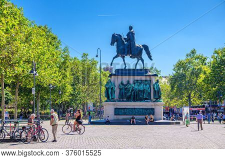 Cologne, Germany, August 23, 2019: Equestrian Statue Of Friedrich Wilhelm Iii Monument On Pedestal A