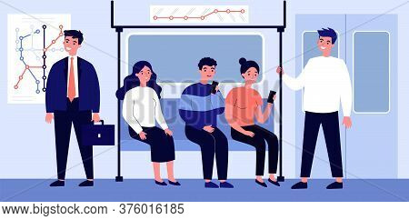 Passengers Travelling By Underground Flat Illustration. People Sitting In Metro Wagon And Using Smar
