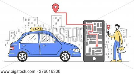 Cheerful Man Taking Cab Via Mobile App Flat Illustration. Guy Tracking Car Route On City Map In Mobi