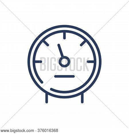 Water Meter Thin Line Icon. Pipe, Arrow, Consumption Isolated Outline Sign. Metering And Equipment C