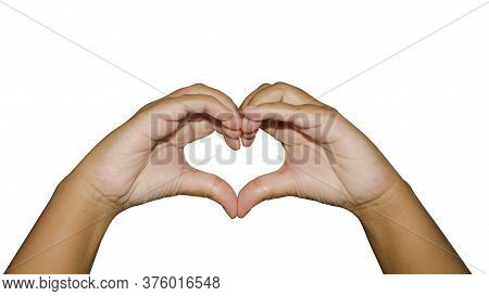 A Hand Heart Is A Gesture In Which A Person Forms A Heart Shape Using Their Fingers. Expressing Love