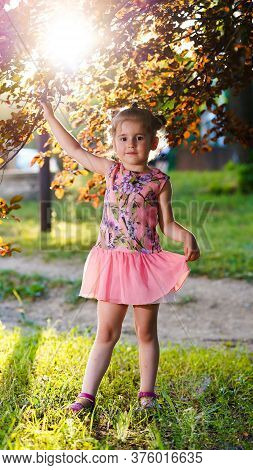 Portrait Of Pretty Girl In Pink Dress In Summer Park. Child Standing With Raised Arm On Green Lawn B