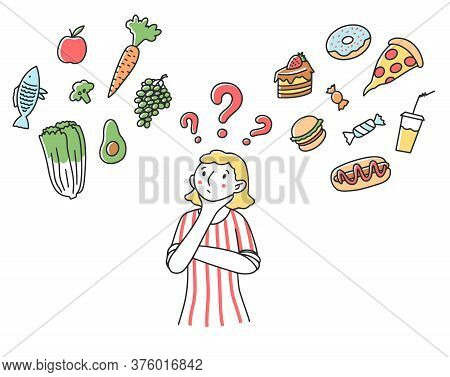 Woman Making Choice For Her Diet Flat Illustration. Female Character Thinking About Healthy And Unhe