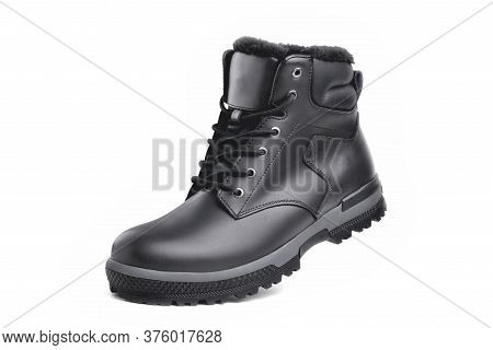 Winter Male Black Leather Boot On A White Background, Hiking Shoes, Practical Off-road Shoes, Close-