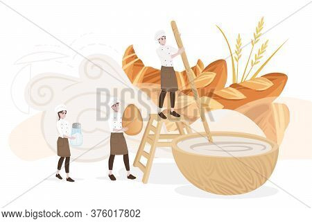 Bakery Manufacturer Male And Female Chef Cooking Kneading The Dough Directly In The Bow Professional