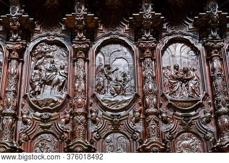 Cordoba, Spain - May 23, 2017: This Is A Fragment Of Wooden Carving On The Backs Of Singing Chairs I