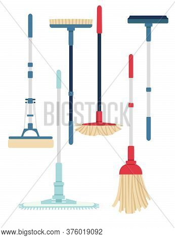 Set Of Cleaning Modern Plastic Mops Domestic Must Have Tools Flat Vector Illustration Isolated On Wh
