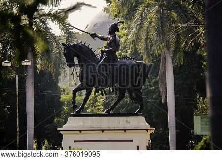 A Statue Monument Of Shivaji On A Horse In Gujrat State In India