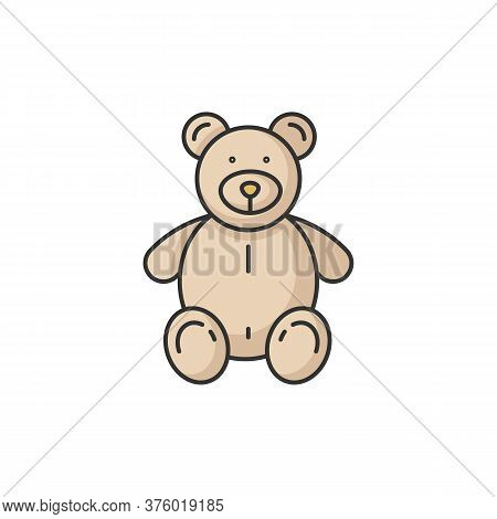 Stuffed Bear Rgb Color Icon. Plush Animal For Kids. Children Soft Toy. Furry Doll For Child. Compani