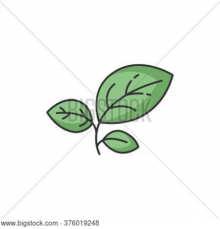 Sprout Green Rgb Color Icon. Growing Leaves. Seedling And Cultivation. Foliage For Gardening. Conser