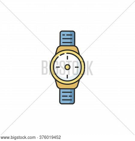 Wrist Watch Rgb Color Icon. Male Hand Clock. Time On Dial. Interface To Timer. Business Man Accessor