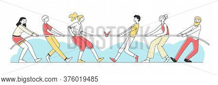 Two Groups Of People Pulling Rope Flat Illustration. Strong Teams Resisting Each Other In Struggle.