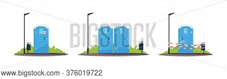 Portable Public Toilets Semi Flat Rgb Color Vector Illustration. Outdoor Convenience, Restroom. Sepa