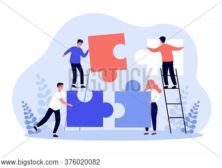 Tiny People Connecting Puzzle Parts. Business Team Working On Jigsaw Together. Vector Illustration F