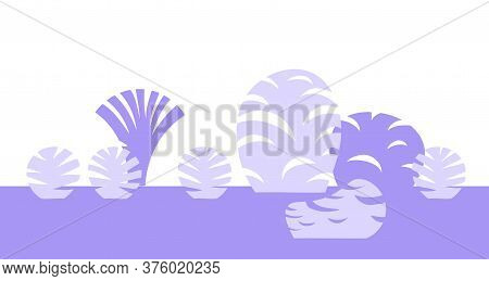 Minimalist Style Landscape With Trees And Bushes In Monochrome Blue-violet Color Scheme