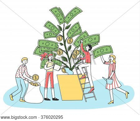 People Growing Money Tree Flat Illustration. Cartoon Character Investing Finance For Revenue And Gro