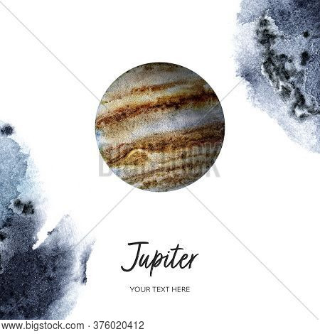 Jupiter On White Background With Watercolor Spine. Hand Drawn Watercolor Illustration.