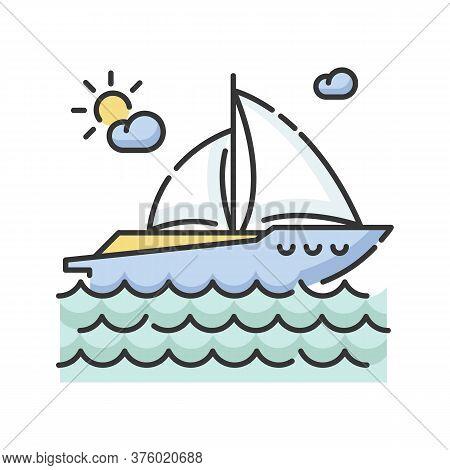 Yachting Rgb Color Icon. Luxurious Recreation, Nautical Tourism, Sailing Sport. Sea Journey, Romanti