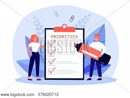 Business People Filling Out Priorities List. Man With Felt Tip Pen Drawing Check Marks In Task List,