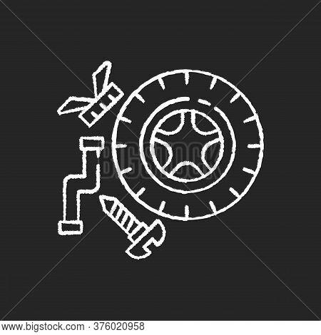 Spare Parts Chalk White Icon On Black Background. Industrial Production Process, Car Maintenance. Au