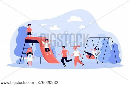 Children Playing On Playground In Park. Happy Boys And Girls Having Fun Outdoors, Swinging And Slidi