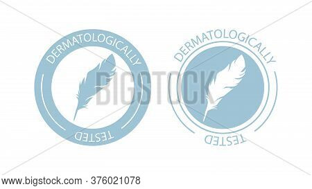 Dermatologically Tested Logo. Vector Feather Icons Of Hypoallergenic Package Label Or Dermatology Te