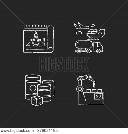 Industrial Production Chalk White Icons Set On Black Background. Raw Materials, Product Drafting, Au