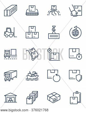 Cargo Shipping Line Icon Set. Storage In Warehouse, Boxes On Forklift, Crane Lifting Container, Tran
