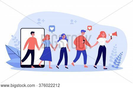 Refer A Friend Concept. People Giving Likes, Sharing Information About Referrals On Social Media And