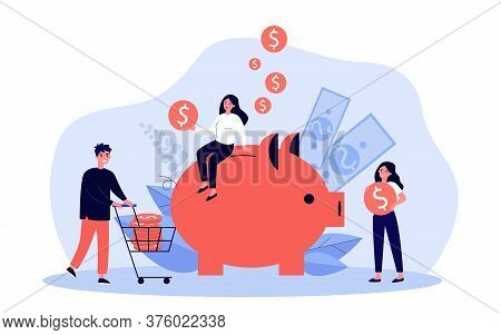 People Saving Money. Tiny Men And Women Carrying Cash To Piggy Bank. Vector Illustration For Investm