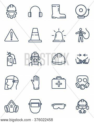 Safety Workwear And Protective Equipment. Line Icon Set With Gloves, Cone, Mask, Helmet, Respirator,