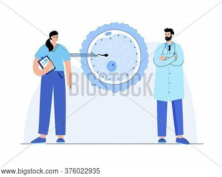 In Vitro Fertilization Concept. Icsi Technology In Clinic With Doctor And Gynecologist. Artificial I