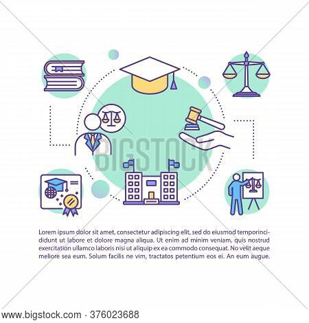 Law School Concept Icon With Text. Ppt Page Vector Template. Bachelor, Master Diploma. University An