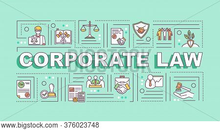 Corporate Law Word Concepts Banner. Corporation Governance. Infographics With Linear Icons On Light