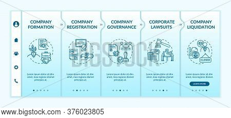 Corporation Life Cycle Onboarding Vector Template. Company Governance And Liquidation. Corporate Law