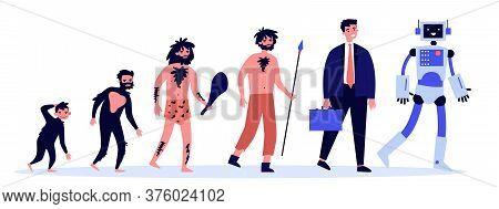 Human Evolution Theory Flat Illustration. Way From Monkey To Cyborg Or Robot. Cavemen As Ancestors.