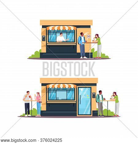 Street Food Shop With Customers Semi Flat Rgb Color Vector Illustrations Set. Outdoor Snackbar, Buff