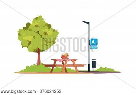 Picnic Area Semi Flat Rgb Color Vector Illustration. Picnic Table With Food And Bench. Outing And Di